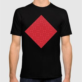 Tiled red rose kaleidoscope T-shirt