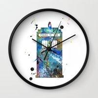 tardis Wall Clocks featuring Tardis by Beth Naeyaert