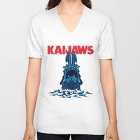 pacific rim V-neck T-shirts featuring KaiJaws (Pacific Rim/Jaws) by Tabner's