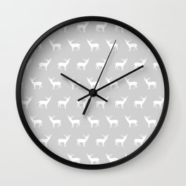 Deer pattern minimal nursery basic grey and white camping cabin chalet decor Wall Clock