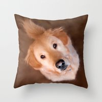 golden retriever Throw Pillows featuring Golden Retriever by Christina Rollo