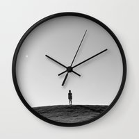 fear Wall Clocks featuring Fear by RichCaspian