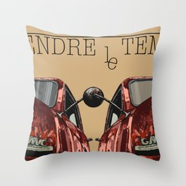Art print: vintage car Take your time «Prendre le temps» typo art Throw Pillow