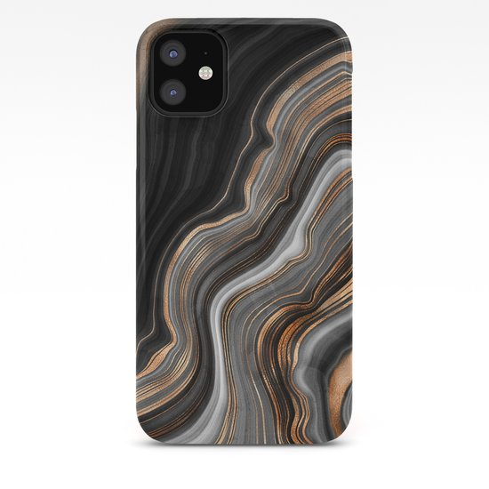 Elegant black marble with gold and copper veins by originalaufnahme