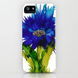 Blue Spray Flower Alcohol Ink Painting by Kaytiebug of Katty Candles and Jewelry iPhone Case