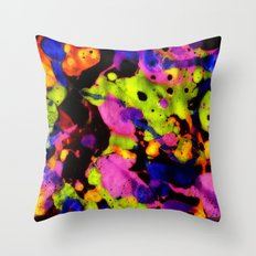 Paintskin with Orange and Blue Throw Pillow
