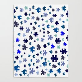 Jigsaw pieces of bluish colors. Poster