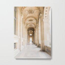 Walking down Passage, Louvre, Paris | Parisian Archway | Travel Photography Metal Print