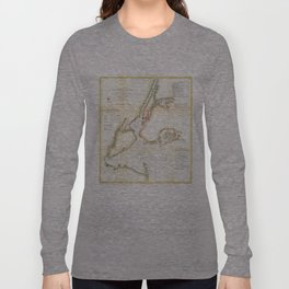 Vintage Map of New York City and NY Harbour (1857) Long Sleeve T-shirt