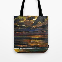 'Moonlight Over a Dark Ocean' coastal landscape painting by F. Cook Tote Bag
