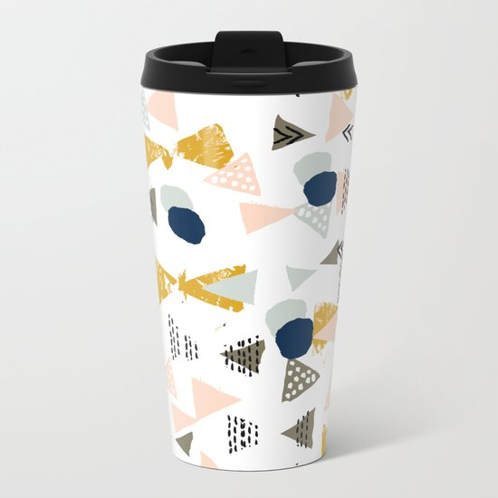 Minimal modern color palette navy gold abstract art painted dots pattern Metal Travel Mug