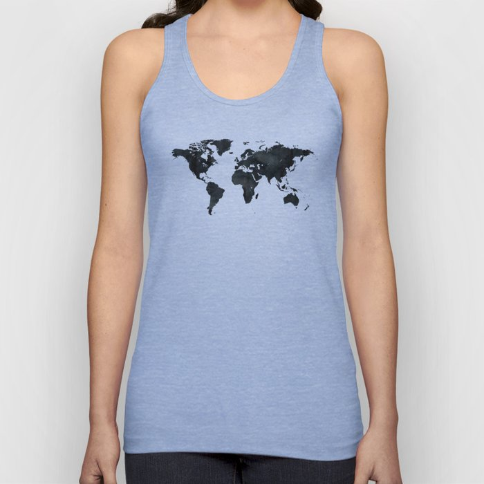 World Map in Black and White Ink on Paper Unisex Tank Top