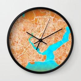 Istanbul, Turkey, Gold, Blue, City, Map Wall Clock