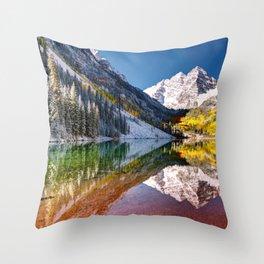 OLena Art Maroon Bells And Maroon Lake Near Aspen Colordo Throw Pillow