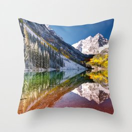 Maroon Bells And Maroon Lake Near Aspen Colorado USA Throw Pillow