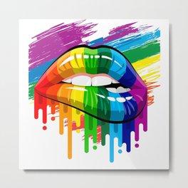 proud Rainbow Lips Pride Shirt Metal Print