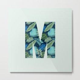 Jungle Palm Trees Initial Monogram Letter M Metal Print