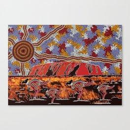 Uluru (Ayers Rock) Authentic Aboriginal Art Canvas Print