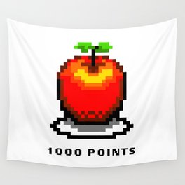 Retro Video Game Pixel Art Apple 1000 Points Wall Tapestry