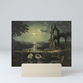 Classical Masterpiece 'A Ruined Gothic Church beside a River by Moonlight' by Sebastian Pether Mini Art Print