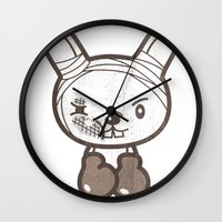 boxing Wall Clocks featuring Boxing Bunny by pencilplus