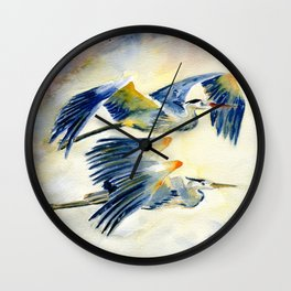 Flying Together - Great Blue Heron Wall Clock