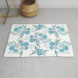Blue Tropical Flower Transparent Rug