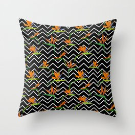 Exotic tropical Strelitzia and striped zigzag black and white Throw Pillow