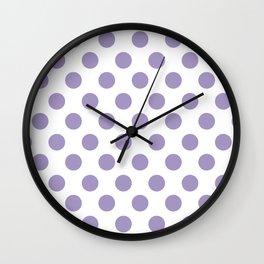 Lavender Medium Polka Dots Wall Clock