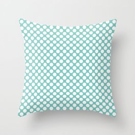 Polka dots - turquoise and white Throw Pillow