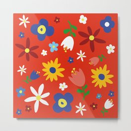 Flowers Floral Sunflower Pattern on Red Metal Print