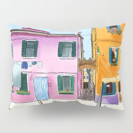 Colorful Houses in Italy Pillow Sham