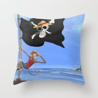 luffy Throw Pillows featuring Monkey D Luffy by Laércio Messias