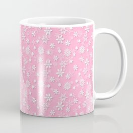 Festive Sweet Lilac Pink and White Christmas Holiday Snowflakes Coffee Mug