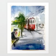 Old Tram in Istanbul Art Print