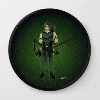 green arrow Wall Clocks featuring Green Arrow by The Vector Studio