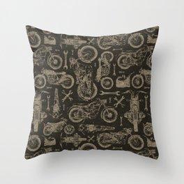 Dark Vintage Motorcycle Pattern Throw Pillow