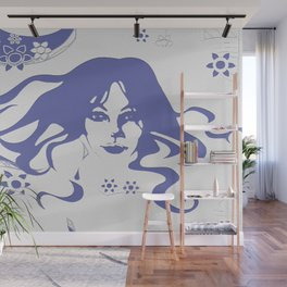 Vintage 70s Style Flower Power. Fashion Design Wall Mural
