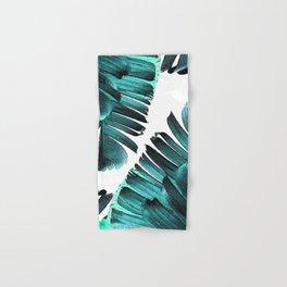 Banana Leaf - Tropical Leaf Print - Botanical Art - Modern Abstract - Blue, Navy, Teal Hand & Bath Towel