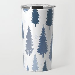 Pines and snowflakes pattern Travel Mug