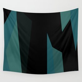 teal and black abstract Wall Tapestry