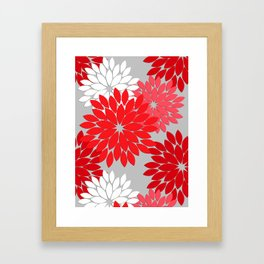 Modern Floral Kimono Print, Coral Red and Gray Framed Art Print