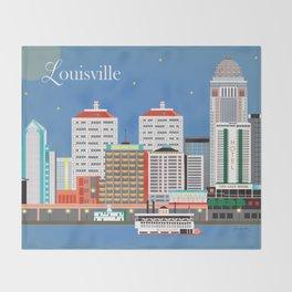 Louisville, Kentucky - Skyline Illustration by Loose Petals Throw Blanket