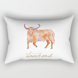 Watercolor Taurus Bull Rectangular Pillow