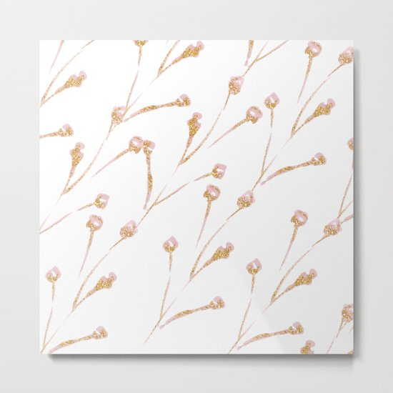 Delicate Blossom Pink + Gold Glitter Metal Print