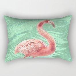Mint + Pink Tropical Flamingo Rectangular Pillow