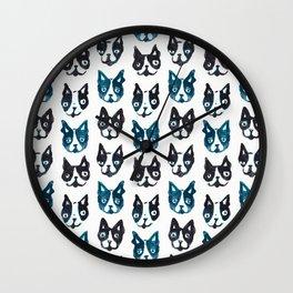 BOSTON TERRIER BLUE Wall Clock