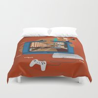 horror Duvet Covers featuring Horror Game by Lily's Factory