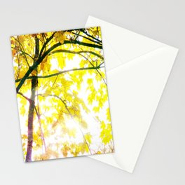 Lovely Autumn Leaves Tree Branch Nature - Canvas Texture Stationery Cards