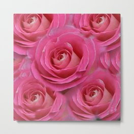 THE PINK GARDEN ROSES VIGNETTE ABSTRACT Metal Print